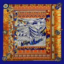 Atacado personalizado tela impressão peregrinação imitado 100 * 100 lenço de seda indiano