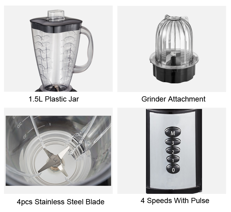 4 Speeds Juice Blender With PC Unbreakable Jar