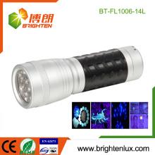 Fabrik Bulk Verkauf 3 * AAA Batterie betrieben Handheld 370nm-375nm Jade Erkennung Metall Material 14 LED uv Taschenlampe