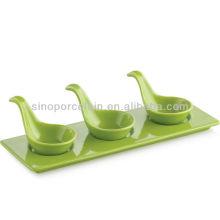 Aperitivo de cerámica esmaltado verde Serving set con base para BS12094B