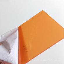 Твердый лист поликарбоната, лист оранжевый 4мм ПК