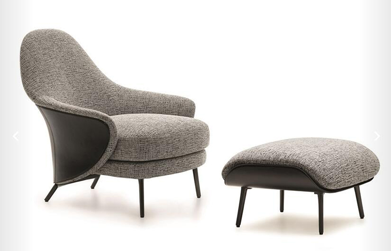 Minotti-Angie-Armchair-with-Ottoman-in-Fabric