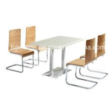 Outdoor Snack Bar Restaurant Möbel Solid Surface Tisch Set (FOH-BC27)
