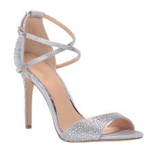 Ankle strap sandals high heel custom women sandal ladies heel satin fabric silver crystal rhinestone women's sandals