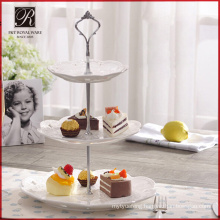 Ceramic wedding decoration round fancy 3 tier cake stand