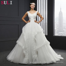 MZ-0058 vestido de bola con cuello en V encaje hasta vestido de boda sin mangas
