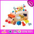 Jouet éducatif tirer et pousser jouet pour enfants, jouet en bois bricolage jouet pour enfants, chaîne perle jouet en bois bloc jouet pour bébé W05b074