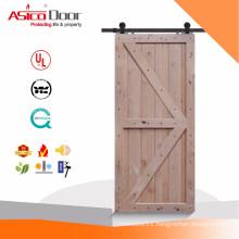 Rustic Style Vertical Slat V-Groove Knotty Alder Interior Sliding Plank Barn Door