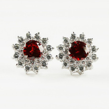 Cubic Zircon Diamond Crystal Stud Silver Earrings