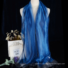 Lady silk organza scarf with silver thread tassels all colors available