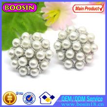 Boucles d'Oreilles Perles Rondes avec Disques de Strass # 22296