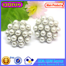 Factory Wholesale Round Disc Pearl Earring with Rhinestones #22296