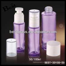 фиолетовый стекло 100ml косметические пены насос бутылку с прозрачной крышкой, в бутылке из косметического стекла, уход за кожей стеклянная бутылка лосьона