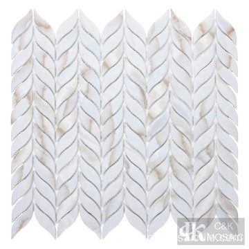 Leaf Shape Calacatta Gold Printing Glass Mosaik Tile