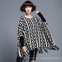 Мода женщины хлопок нейлон вязаный бахрома пуловер (YKY2054)