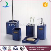 Conjunto cerâmico de 5 produtos quadrados azuis do banheiro