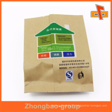 Customized back side sealed gusset cheap kraft paper bags for nuts