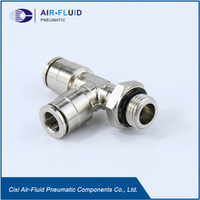Air-Fluid Brass PushIn Male Run Tee Swivel.