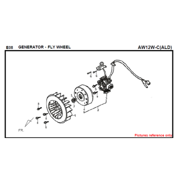 E08 GERADOR RODA FIDDLE 125 AW05W-C Para SYM Spare Part Top Quality