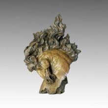 Escultura de bronce animal Escultura de caballo grande de la cabeza de caballo Estatua de latón Deco Tpal-001
