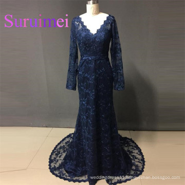 Navy Blue Prom Dresses vestiods de noiva Long Sleeves with Lace Evening Gowns