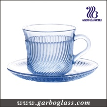 180ml Blue Glass Cup and Saucer with Line Embossment
