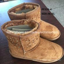 Botas de injeção mais recentes mid-cut diamond botas de neve inverno quente botas sapatos de estoque (ff328-4)