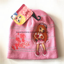 OEM Produce Customized Cartoon Applique Embroidered Pink Winter Snowboard Wool Beanie Hat