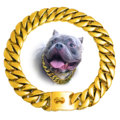 Factory Drop Shipping 14MM/15MM/17MM/19MM/32MM  Gold Silver Cuban Dog Chain Dog Collars  For Dog Training Collar