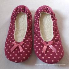 Printing polka dots home winter lady flat ballerina shoes slipper