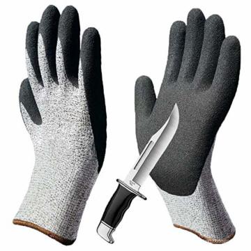 Уровень 5 нескользящие Воздухопроницаемый песчаный нитрильного покрытием стойкость к порезам перчатки безопасности