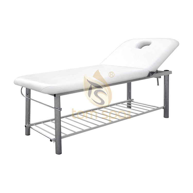 Facial bed with adjustable head position