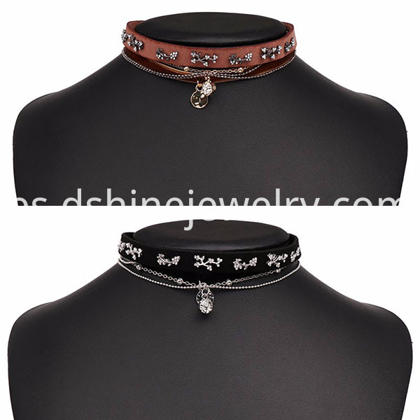 Leather Velvet Choker Necklace