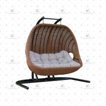 Chaise à baldaquin à 2 places en résine poly synthétique polyvalente et élégante à usage professionnel ou hamac pour meubles en osier pour jardin extérieur