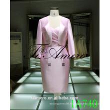1A740 rosa brillante formal vestido de raso longitud de la rodilla espalda trajes para mujer de encaje 2016
