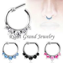 O Aqua Prong nariz conjunto anel septo jóias Piercing septo