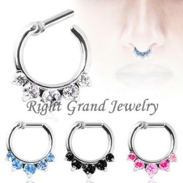 Aqua Prong Set Nose Ring Septum Jewelry Piercing Septum