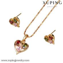 60591-Xuping Joyas chapadas en oro conjunto de joyas en forma de corazón