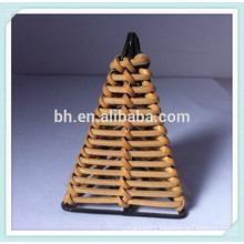 Beautifull Triangle Rattan Cane Curtain Rod Curtain Finials