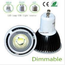 Dimmable 5W negro GU10 COB LED de luz