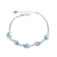 Море синий элемент кристалла Двойное сердце со змеей браслет цепи для любителей лучший подарок