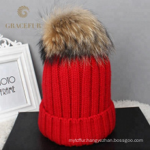 Wholesale Customized kid child beanie Mom and baby matching knitted real raccoon fur pom pom hat winter