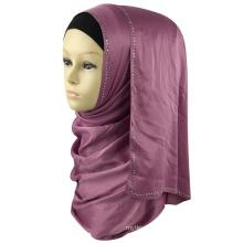 Best selling muslim women head dubai diamond maxi scarf shawl jewel silk satin stone hijab