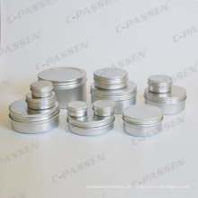 Silver Aluminium Cosmetic Cremetopf mit Schraubverschluss