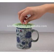 China fabricante Eco-friendly grado de alimentos sellado portátil reutilizable café taza de silicona tapa, taza de té cubrir tapa de silicona
