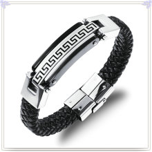 Pulsera de acero inoxidable cuero joyas pulsera de cuero (lb100)