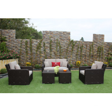 UV Resistant Poly Rattan Sofa Set for Outdoor Garden or Living Room Wicker Furniture
