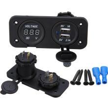 Dual USB Ladegerät Buchse / Adapter / Ladegerät / Digital Voltmeter 12V-24V