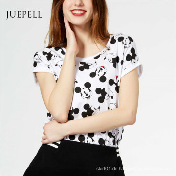 Mickey Print Baumwolle Frauen T-Shirt