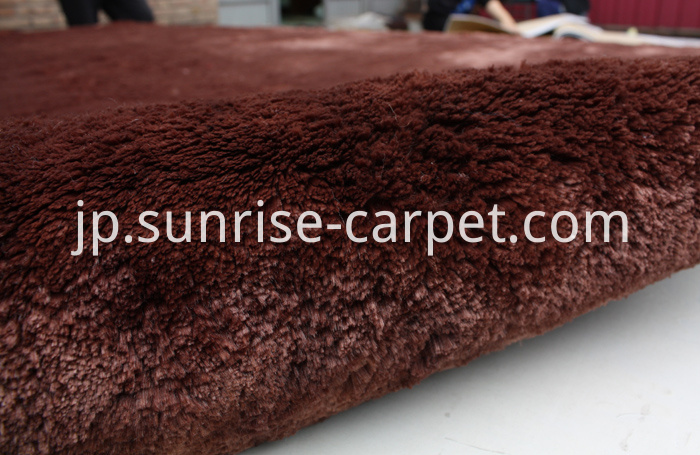Velvet Polyester Shaggy Rug Brown color